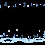 水と音符の音楽フレーム・飾り枠のイラスト