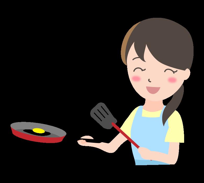 フライパン調理をしている主婦のイラスト