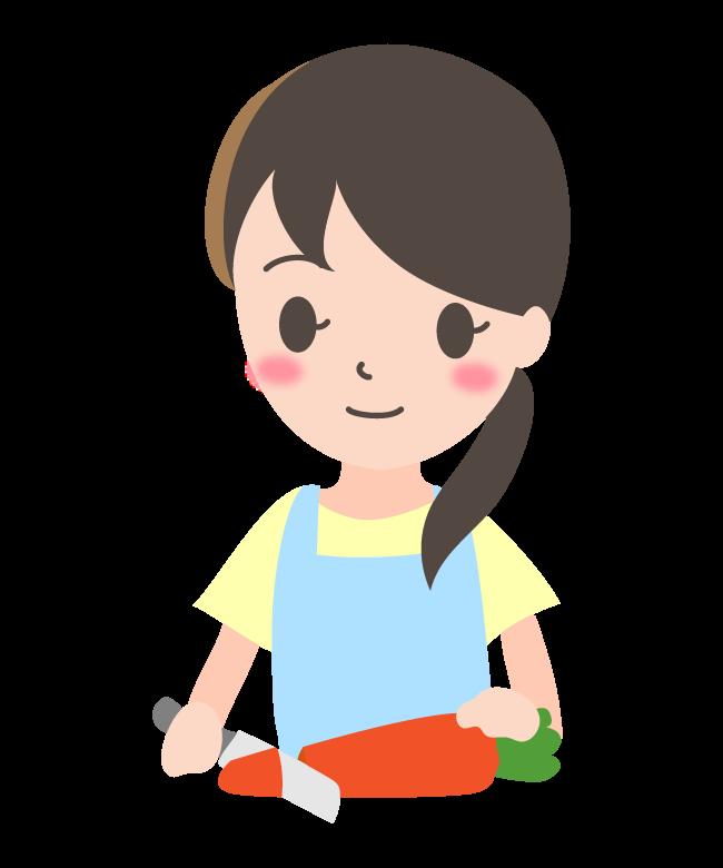 野菜をカットしている主婦のイラスト