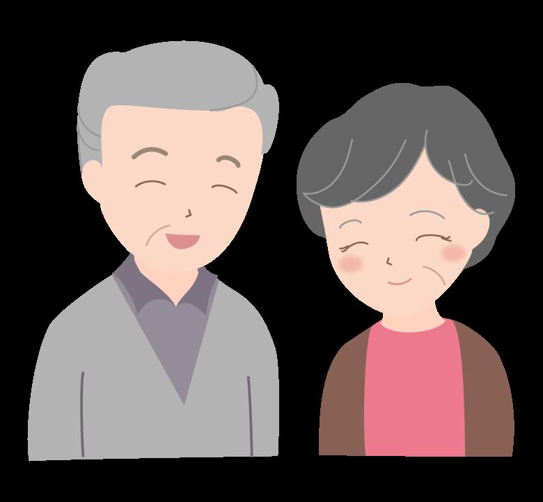 笑顔の老夫婦(シニア)のイラスト