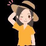 麦わら帽子をかぶっている女性のイラスト