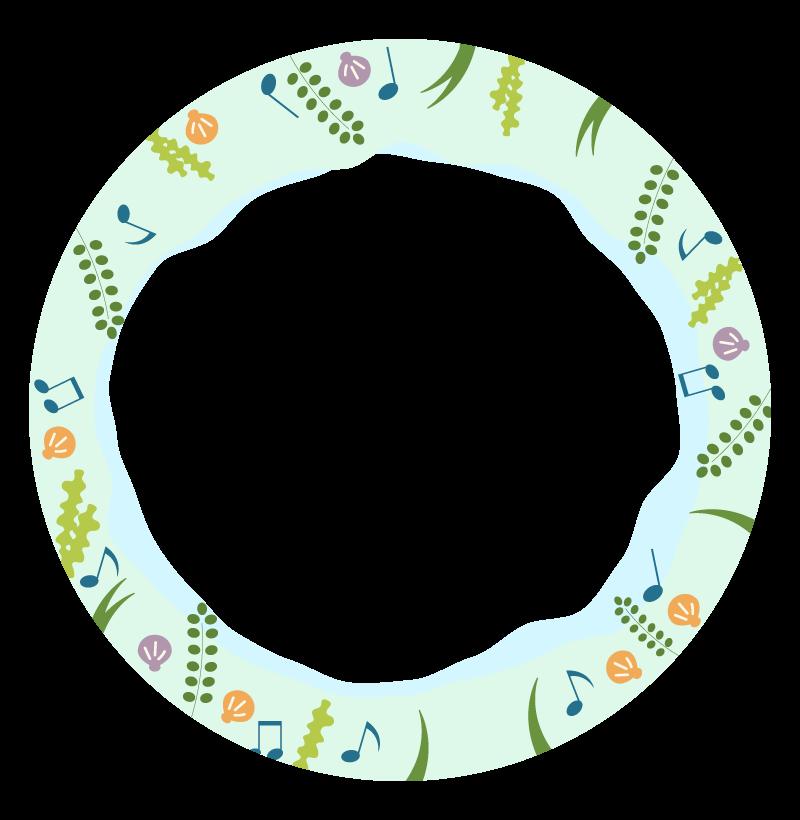 ビーチと音楽のフレーム・飾り枠のイラスト