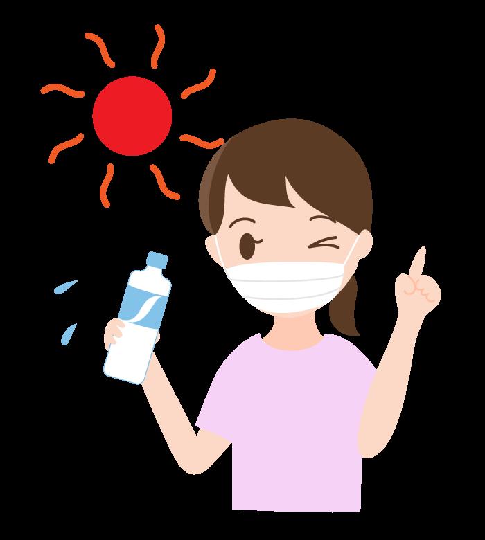 マスク時の熱中症対策のイラスト