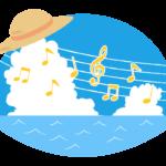 夏空と音楽のイラスト