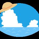 麦わら帽子と夏の海のイラスト