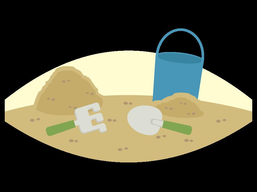 公園で砂遊びのイラスト