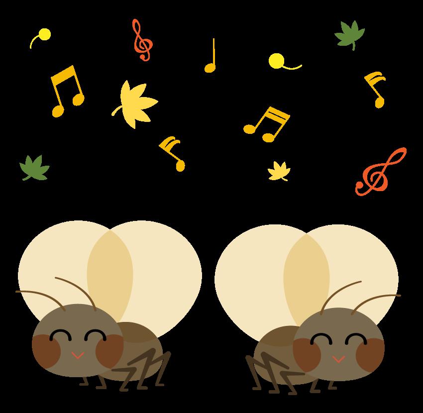 メロディを奏でる鈴虫のイラスト
