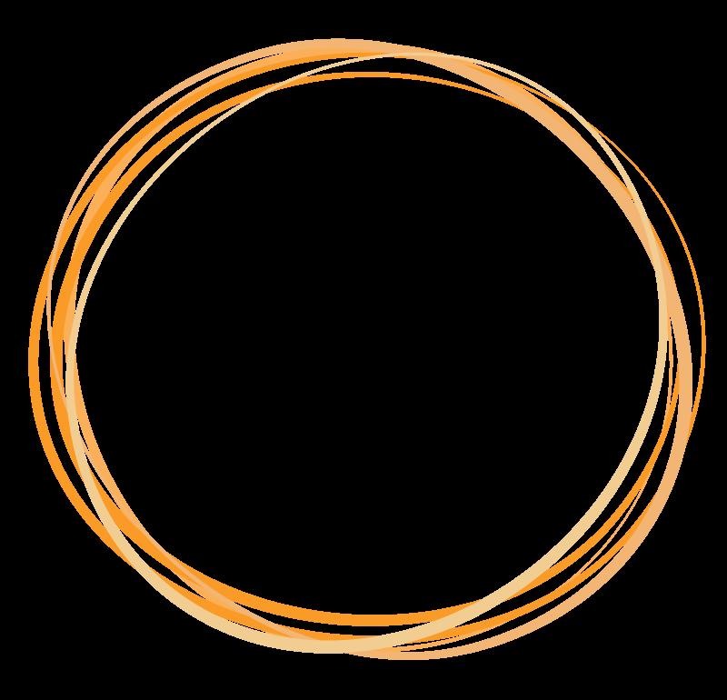 重なった円の手書き風フレーム・飾り枠のイラスト