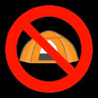 テントの設営禁止のイラスト