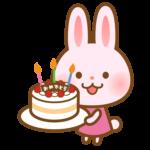 誕生日ケーキとかわいいうさぎさんのイラスト