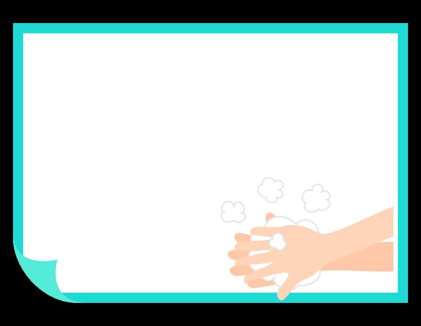 石鹸で手を洗っているフレーム・飾り枠イラスト
