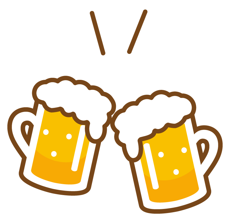 ジョッキのビールで乾杯のイラスト02