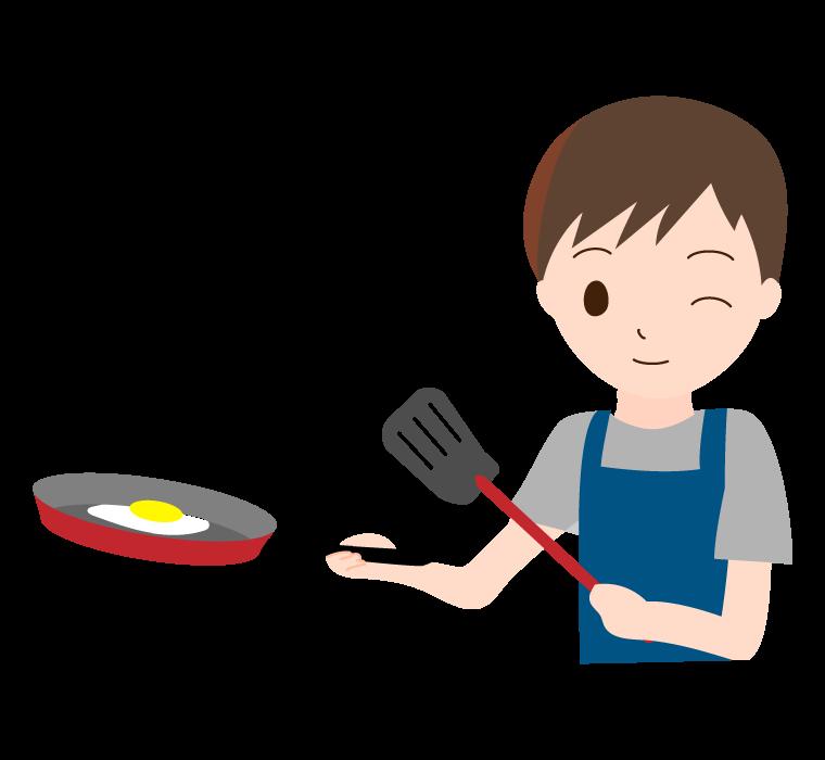 フライパン調理をしている男性のイラスト