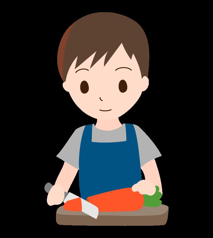 野菜をカットしている男性のイラスト