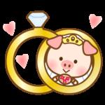 かわいいブタさんの花嫁と指輪のイラスト