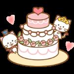 かわいい猫のカップルとウエディングケーキのイラスト