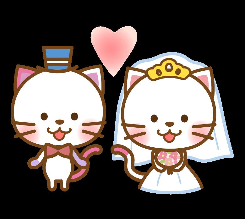 かわいい猫の新郎新婦のイラスト