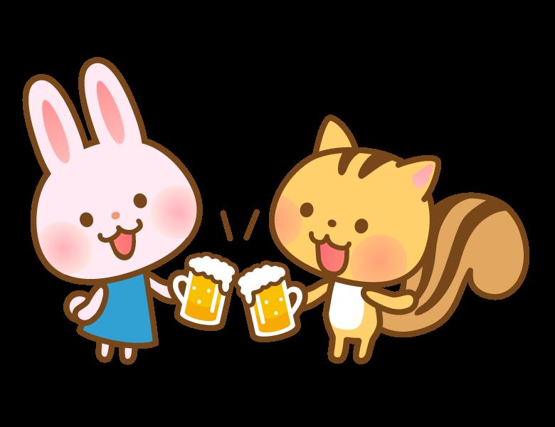 ビールで乾杯するかわいいうさぎとリスさんのイラスト