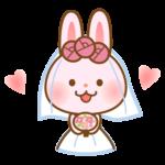 かわいいうさぎの花嫁さんのイラスト