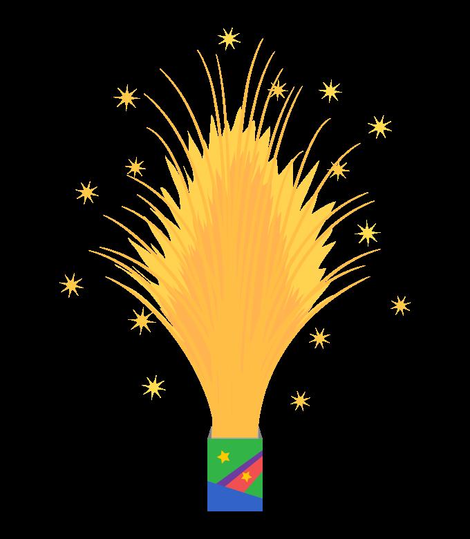 噴出花火(ドラゴン)のイラスト