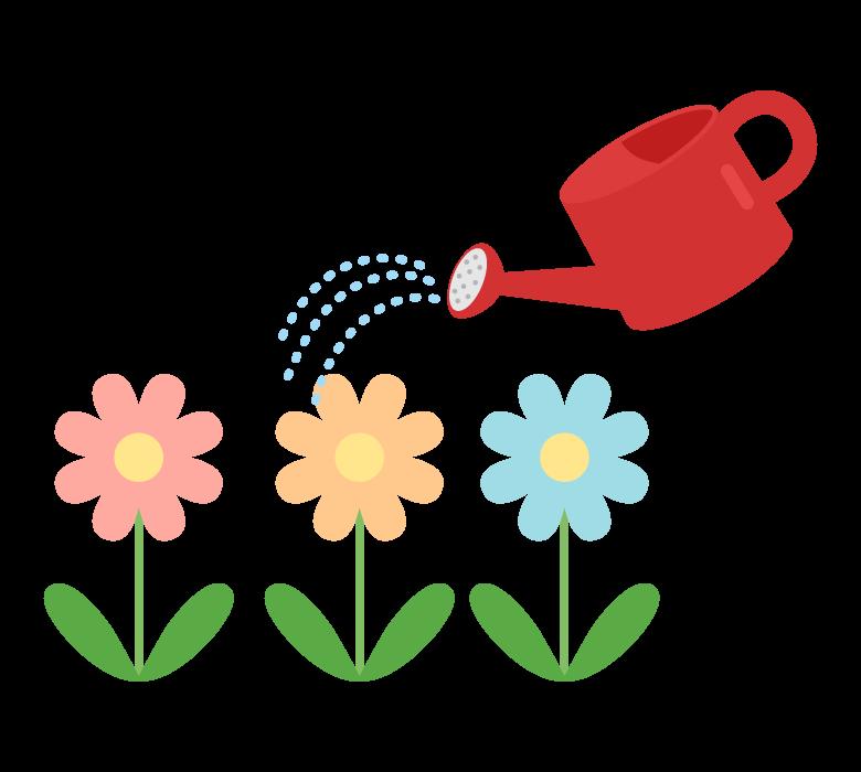 お花に水やりのイラスト