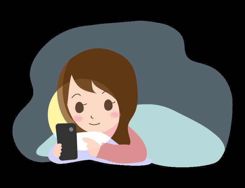 寝る前に布団の中でスマホを見ている女性のイラスト