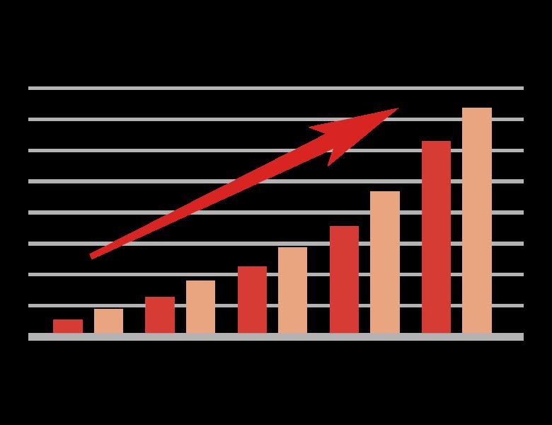 上昇グラフのイラスト