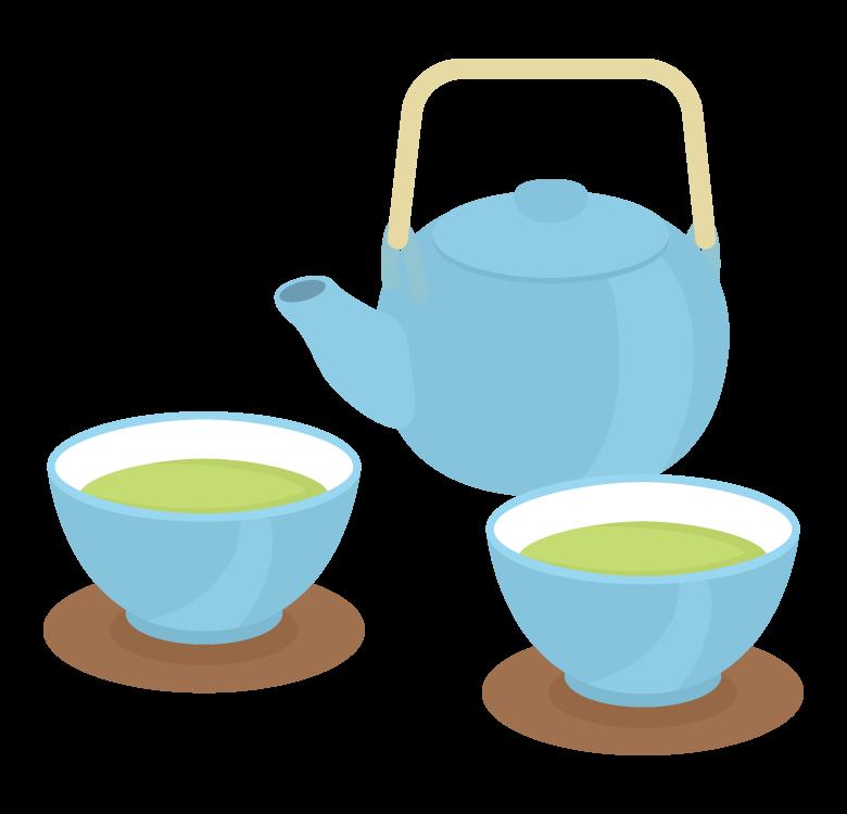 緑茶・急須と湯呑のイラスト