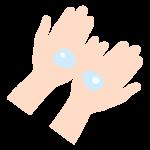 液体消毒と手のイラスト