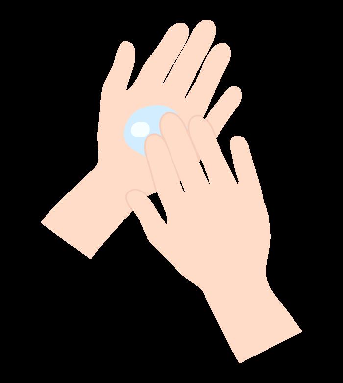 液体消毒で手を消毒のイラスト