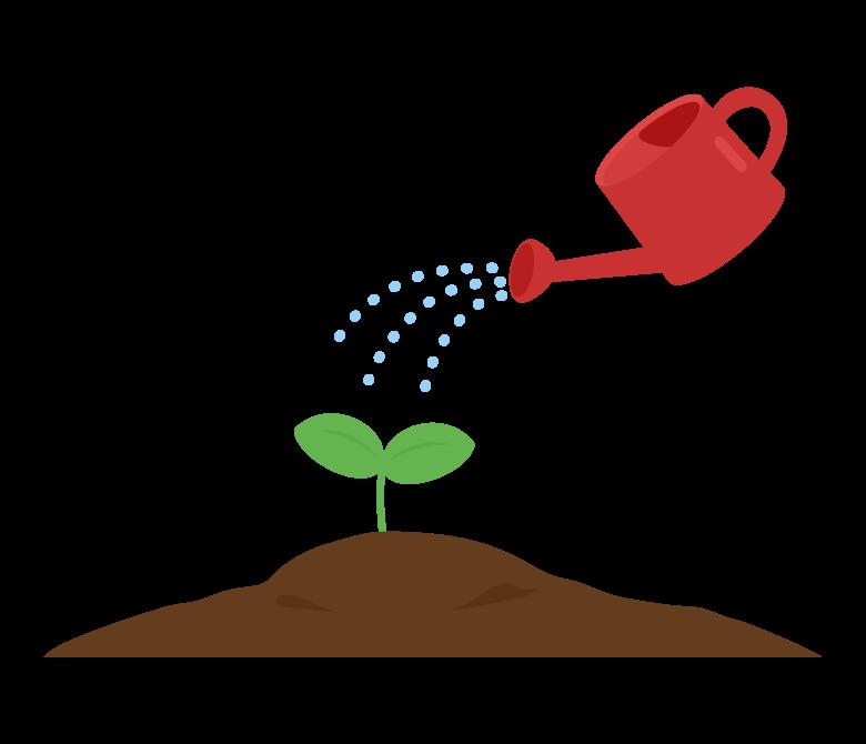 発芽・水やりのイラスト