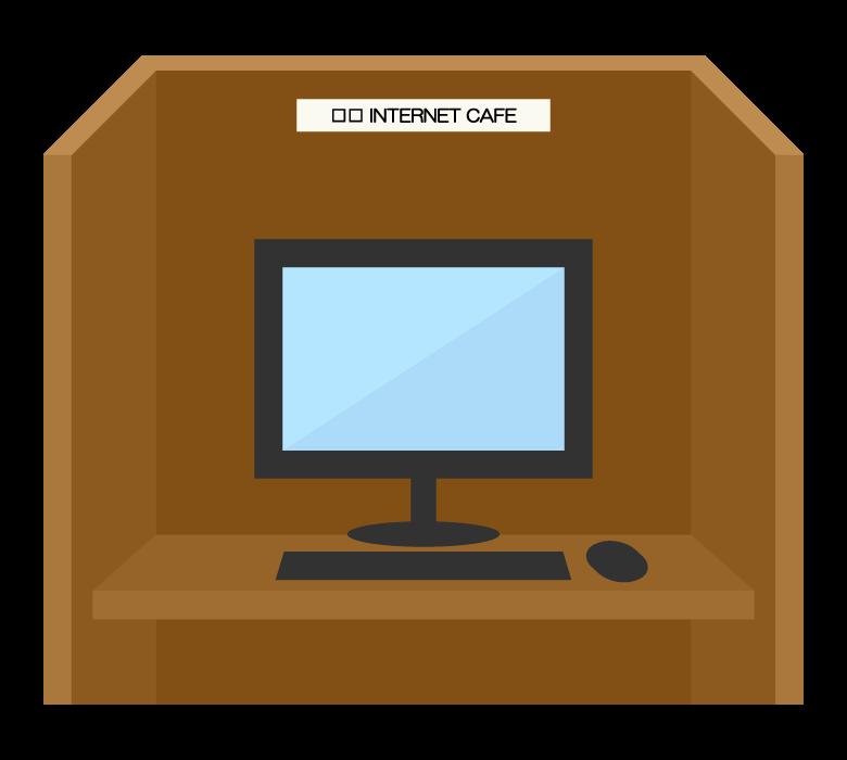 インターネットカフェのブースのイラスト