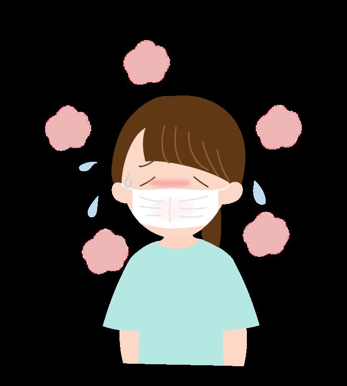 暑さなどでマスクが蒸れている人(女性)のイラスト
