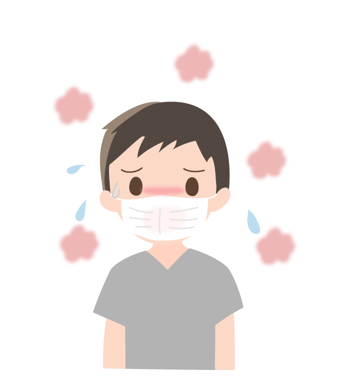 暑さなどでマスクが蒸れている人(男性)のイラスト