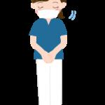 マスクをしておじぎをする看護師さんのイラスト