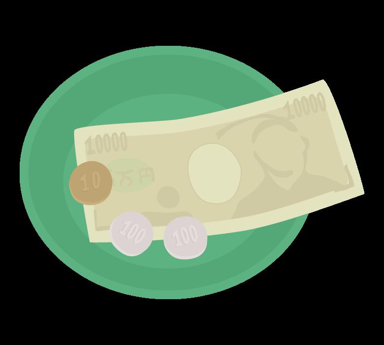 キャッシュトレイ(丸型)とお金のイラスト