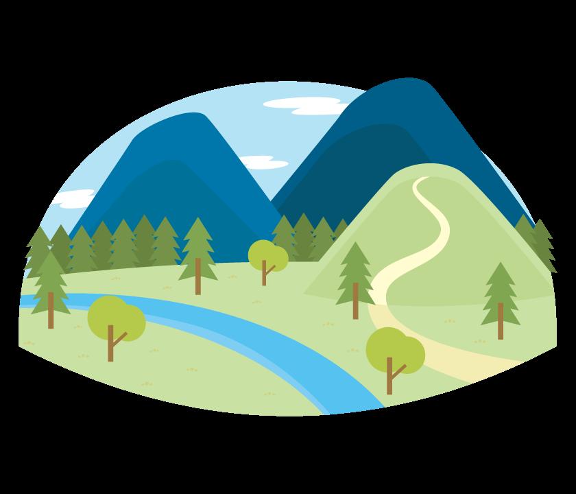 山と川の風景のイラスト
