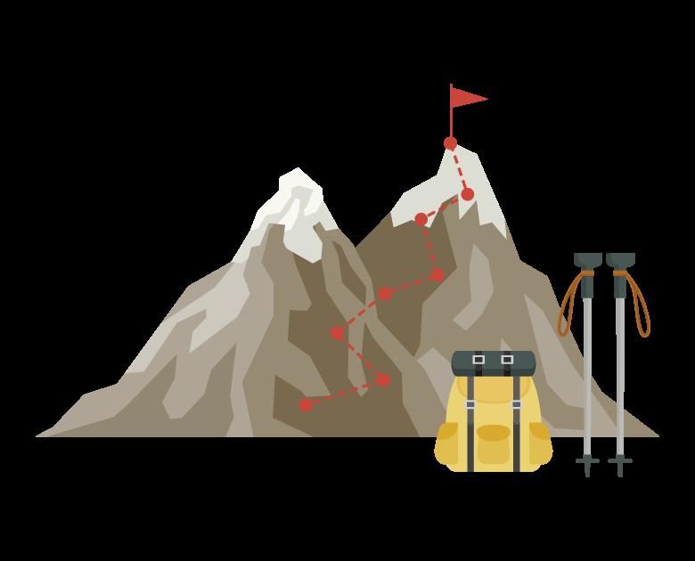 登山・登頂のイラスト