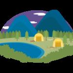 夜のキャンプ場のイラスト