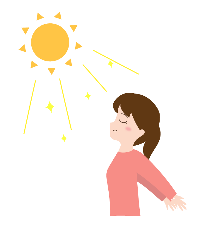 日光浴をする女性のイラスト