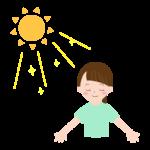 日を浴びている女性のイラスト