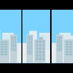 窓から見たビルなどの街並みのイラスト