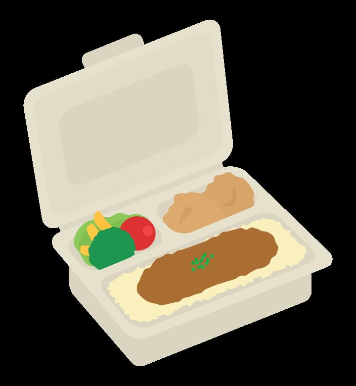 パルプモールドのカレー弁当のイラスト