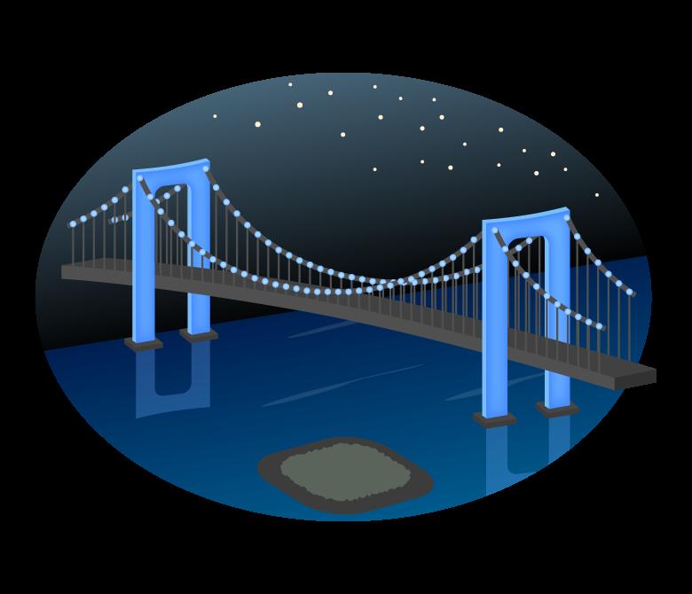 夜のレインボーブリッジのイラスト