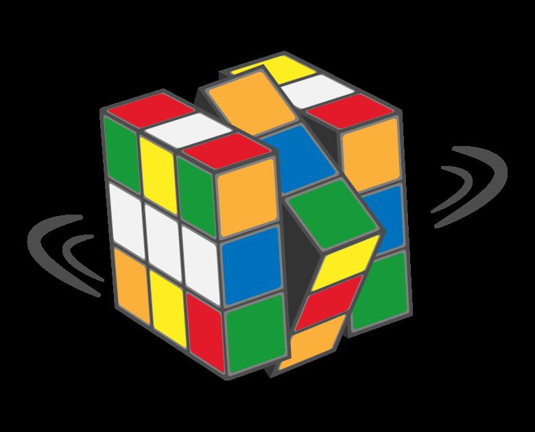 回転しているルービックキューブのイラスト