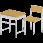 学校の机と椅子のイラスト