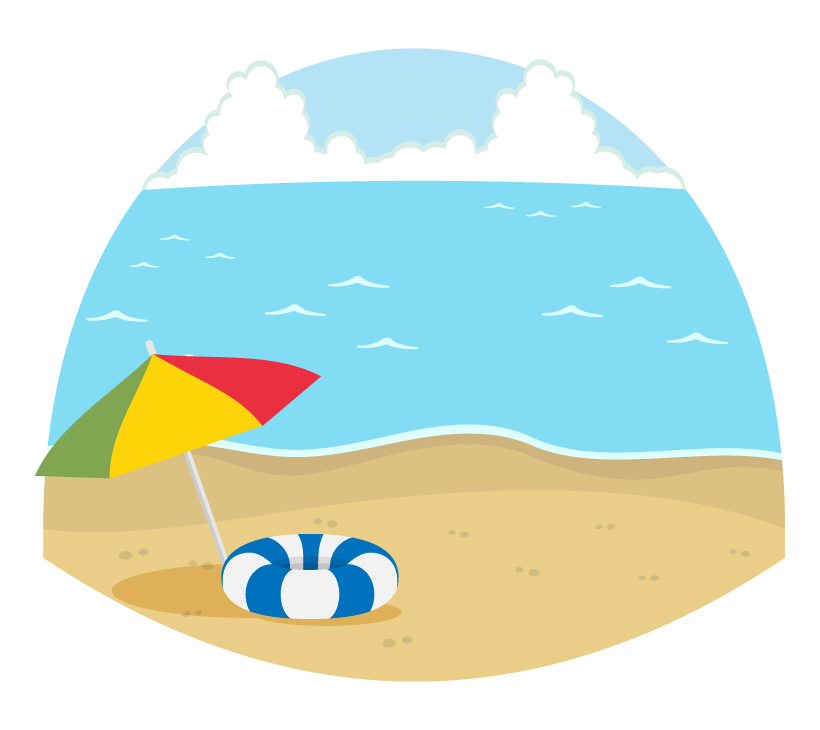 夏の海とビーチパラソルのイラスト