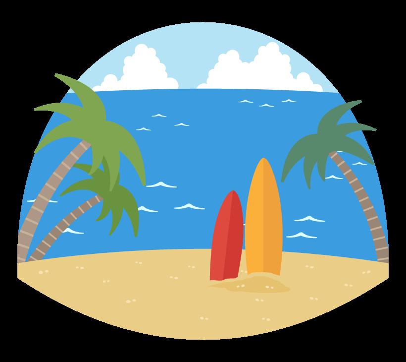 海とサーフボードのイラスト