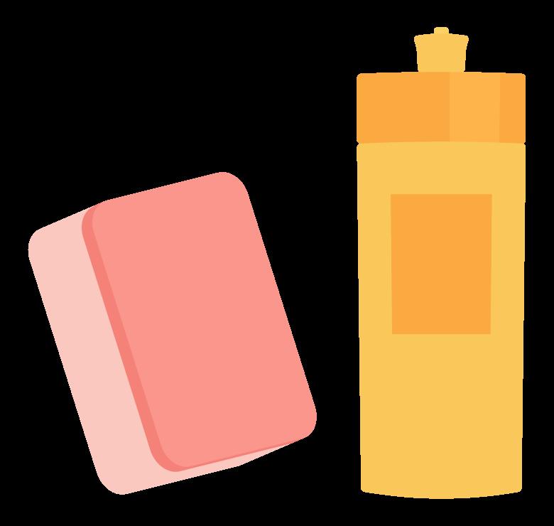 洗剤とスポンジのイラスト