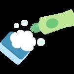 泡と中性洗剤とスポンジのイラスト